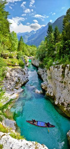 The beautiful emerald river Soča, at the Goriška traditional region of Slovenia