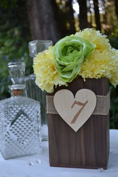 04ec7dc320df0b Burlap and Wood wedding centerpiece box   vase holder with engraved heart  table number.  20.00