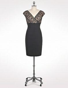 Lace Top Shutter Pleat Dress | Dressbarn
