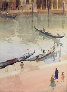 Watercolor by Traghetto, Grand Canal, Venice, Sir William Russell Flint. Watercolor Landscape, Watercolor And Ink, Landscape Paintings, Watercolor Paintings, Watercolours, Watercolor Canvas, Grand Canal Venice, William Russell, Venice Painting