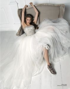 From our editorial - ETHEREAL ATMOSPHERE Photo: Sofia Riva Styling: Sabrina Mellace Styling ass.: Filippo Scrivani Hair&Makeup: Ago S.  Nicole dress, Jimmy Choo sneakers. #dress #nicole #jimmychoo @Jimmy Choo #sneakers #bride #wedding #photoshooting #editorial #woman #fashion #style