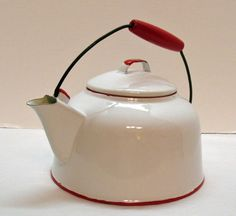 Vintage Enamelware White Teapot Red Trim & Wooden Handle 1930-50s Good from teesantiqueorchard on Ruby Lane