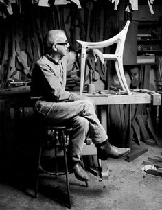 Sam Maloof in his workshop