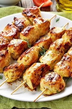 Recipe including course(s): Entrée; and ingredients: boneless, skinless chicken. Greek Chicken Skewers, Greek Chicken Souvlaki, Greek Chicken Recipes, Grilled Chicken Recipes, Greek Recipes, Chicken Souvlaki Marinade, Baked Greek Chicken, Chicken Recepies, Dill Recipes
