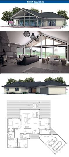 Small house floor plan with open planning. Vaulted ceiling, three bedrooms. Floor area: 2341 sq ft, Cost to Build: from $ 210 000. Floor Plan from ConceptHome.com