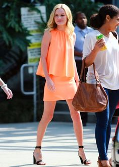 Kate bosworth in Christopher Kane dress and Chloe heels.... Love the sorbet color