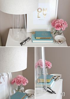 love this color scheme: gray walls, white furniture, silver, pink, and blue/green accents (just bella)