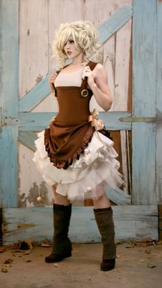 i'd probably pair this with a fitted 3/4 sleeve shirt instead (to hide my flabby upper arms), but this steampunk dress/boots combo is totally rad.