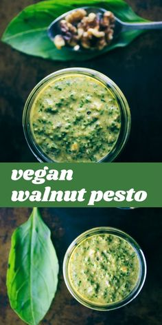 This amazingly creamy and delicious Cheesy Vegan Walnut Pesto is made from a blend of basil, spinach, kale, garlic, walnuts, and nutritional yeast! It is vegan, gluten-free, healthy, vibrant and ridiculously tasty. It makes for one perfect green condiment ready to use on just about any savory dish!  #veganpesto Dairy Free Dips, Dairy Free Recipes, Gluten Free, Vegetarian Recipes Dinner, Delicious Vegan Recipes, Pesto Recipe, Pesto Sauce, Walnut Pesto, Walnut Recipes