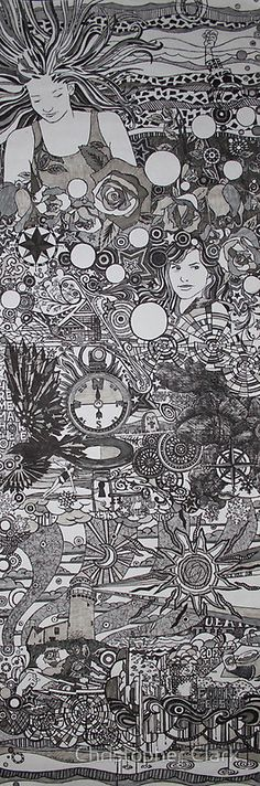 Searching for direction, pen and ink, by Christopher Clark.