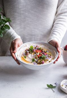 Sweet strawberry and rosewater labneh bowl