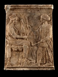 Votive relief depicting Demeter and Kore BC) Oil Refinery, Minoan, Persephone, Art Of Living, Macedonia, Ancient Greece, Athens, Civilization, Mystery