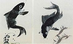 Jakuchu. Carp pair. Japanese painting. Eighteenth century.