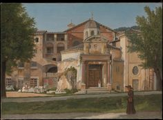 In Rome, between 1813 and 1816, Eckersberg produced a series of urban prospects remarkable for their scrupulously simple compositions and saturated hues. These studies were painted in repeated sittings before the motif in order to faithfully reproduce the effects of the Mediterranean sun on architectural ensembles