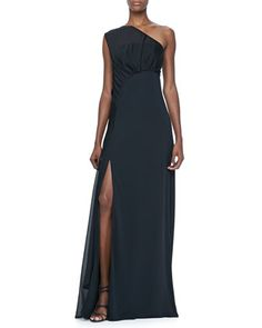 One-Shoulder Gown with Sheer Overlay by Halston Heritage at Neiman Marcus Last Call.