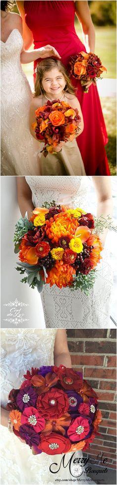 Wedding Bouquet, Orange Bridal Bouquet, Fall Flowers, Realistic Silk Flowers, Calla Lily Wedding Flowers