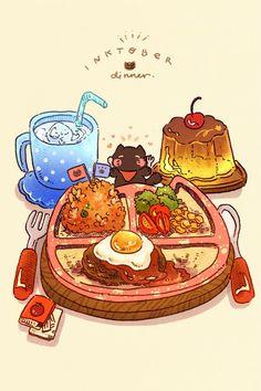 want to eat a kiddies menu set. they look better than the regular menu : (. Cute Food Drawings, Cute Kawaii Drawings, Kawaii Doodles, Arte Do Kawaii, Kawaii Art, Japon Illustration, Cute Illustration, Aesthetic Anime, Aesthetic Art