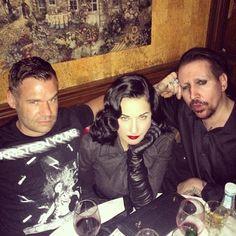 Adam McCollum (wearing ME), Dita Von Teese, and Marilyn Manson: The Midwest Alliance: Indiana, Missouri, Michigan and Ohio.