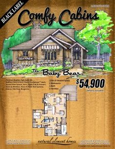 The Baby Bear 1230 SF, 2 BR, 1 BA   Natural Element Homes #ComfyCabins #BlackLabel
