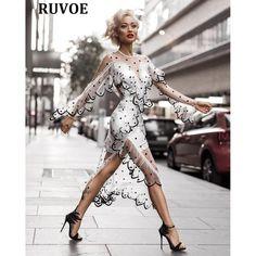 Sexy Sheer Scalloped Ruffle Dress