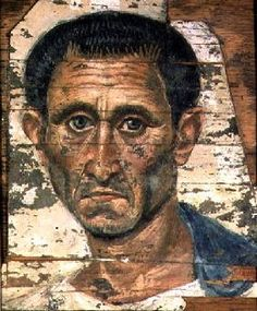 Fayum portrait of a man in a blue cloak Trajanic