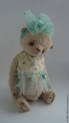 Мальвина.. - бежевый,мишка ручной работы,мишка девочка,мишка в одежке