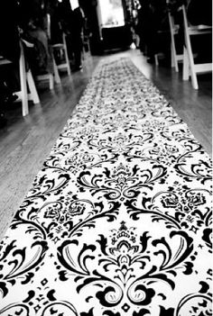 damask aisle runner... This would be so pretty with pink rose petals.