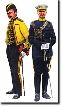 """British Officers of 1st Bengal Lancers(Skinner's Lancers) c 1905. The officer on Left in Mess Dress , the right in Undress. The hot weather white cap cover is removable revealing a blue crown with yellow lancer welts. A Christopher Rothero plate from Almark's """"Skinner's Horse"""""""