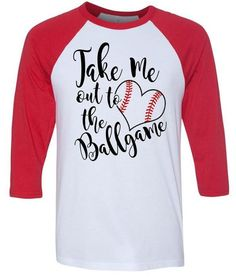 Take Me Out To The Ballgame - Baseball Mom - Baseball Girlfriend - Glitter Red Stitches - 3/4 Length Softstyle Longer Length Baseball Tees by GraphicsUnlimitedLLC on Etsy