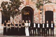 formal black and white wedding party style autumn wedding colors / wedding in fall / fall wedding color ideas / fall wedding party / april wedding ideas Black Bridesmaids, Black Bridesmaid Dresses, Bridesmaids And Groomsmen, Black Wedding Dresses, Wedding Bridesmaids, Long Black Dresses, Black Weddings, Indian Weddings, Romantic Weddings
