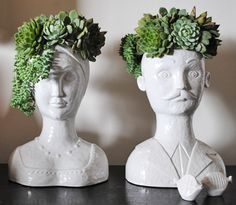 isn't this great?  now I have to look for those quirky vintage planters that are women's heads.  that and some spray paint!