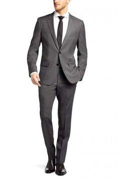 "never-under-dressed: ""Huge/Genius Slim Fit, Super 110 Italian Virgin Wool Suit "" Charcoal Suit Wedding, Mens Charcoal Suit, Grey Suit Wedding, Grey Suit Men, Wedding Dress Men, Black Suits, Mens Fashion Suits, Mens Suits, Gray Groomsmen Suits"
