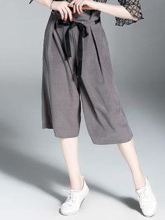 #AdoreWe #StyleWe Wide Leg Pants❤️Designer QinPei.er Gray Bow Ruffled Solid Casual Wide Leg Pants - AdoreWe.com