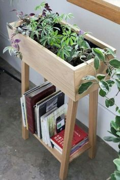 Two-in-one wooden planter and bookshelf