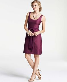 Silk Dupioni Scoop Neck Dress | Ann Taylor My Bridemaid dresses!
