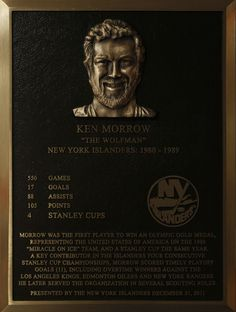 Ken Morrow's Hall of Fame plaque.