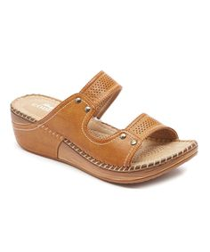 Look at this Lady Godiva Tan Whipstitched Sandal on #zulily today!