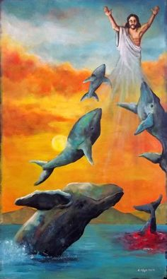 "Save the Whales  23""x38""  acrylic on canvas"