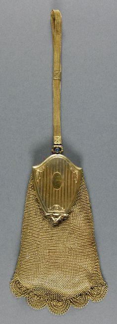 Date: 1930-1935. Culture: America. Medium: gold linked mesh, gold metal, blue stone