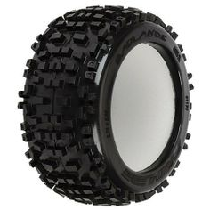 """Proline 117800 Badlands 3.8"""" (40 Series) All Terrain Truck Tires (2) by ProLine. $29.39. From the Manufacturer                This is a set of two Pro-Line Badlands 3.8"""" All Terrain Monster Truck Tires in M2 compound. Are you ready to tackle any terrain? If so, then the Badlands MT tire is the answer for you. The Badlands tire offers motocross style tread that is for adrenaline pumping Monster Truck and Truggy bashing. The Badlands tread is made strictly for the motoc..."""