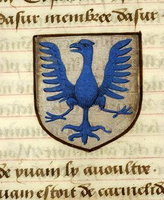 Escutcheon decorated with heraldry of Dodinel le Sauvage (azure, an eagle displayed azure, beaked and armed of the same) | Noms, armes et blasons des chevaliers de la Table Ronde | France, ca. 1500 | The Morgan Library & Museum