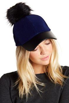 0fb5f7decbbf5 David   Young Faux Fur Pompom Applique Velvet Baseball Cap  hat  womens