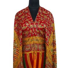 "Ibaexports Red Base Wool Blend Light Weighted Shawl Paisley Floral Print Stole Women India 80"" X 40"" Inches IBA. $49.99"