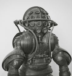 This antique armored diving suit was built in France in the 1800s.