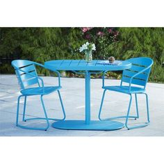 Ideal for smaller areas, the charming Cosco Metro Retro Steel 3 Piece Nesting Patio Bistro Set is perfect for your apartment patio or urban garden. Outdoor Dining Set, Patio Dining, Outdoor Chairs, Outdoor Living, Outdoor Decor, Outdoor Spaces, Dining Sets, Iron Patio Furniture, Outdoor Furniture Sets