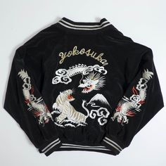 Vintage Japanese Yokosuka Jumper Dragon Ryu Vs. Roaring White Tiger Tora Tattoo Art Design Japan Embroidery Velveteen Becchin Sukajan Jacket - Japan Lover Me Store