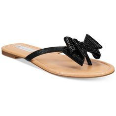 Inc International Concepts Women's Mabae Bow Flat Sandals, ($50) ❤ liked on Polyvore featuring shoes, sandals, black, rhinestone sandals, kohl shoes, bow flat sandals, rhinestone shoes and black flat sandals