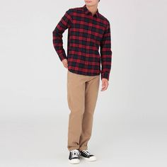 Flannel shirts are now in stores! Made of organic cotton our flannel is soft and comfortable just like it has been worn for a long time. Flannel Shirts, Organic Cotton, Khaki Pants, Fashion, Moda, Khakis, Fashion Styles, Flannel Shirt, Fashion Illustrations