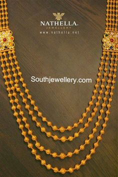 Beautiful gundla mala with four strings of gold balls chain