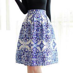 Women fashion Blue and White Porcelain print Zipper Elastic Waist Pleated tutu Ball Gown Knee Length Skirts women 45 #Affiliate